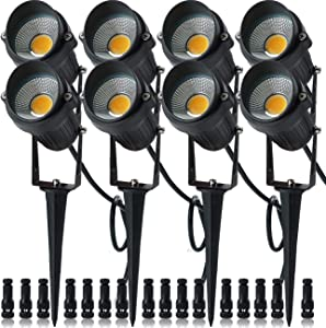 ELEGLO 5W LED Landscape Lights,Low Voltage Landscape Lighting,12V/24V IP65 Waterproof Outdoor Garden Lights for Yard Wall Driveway Patio Pathway Spotlights with Stake(8 Pack Warm White with Connector)
