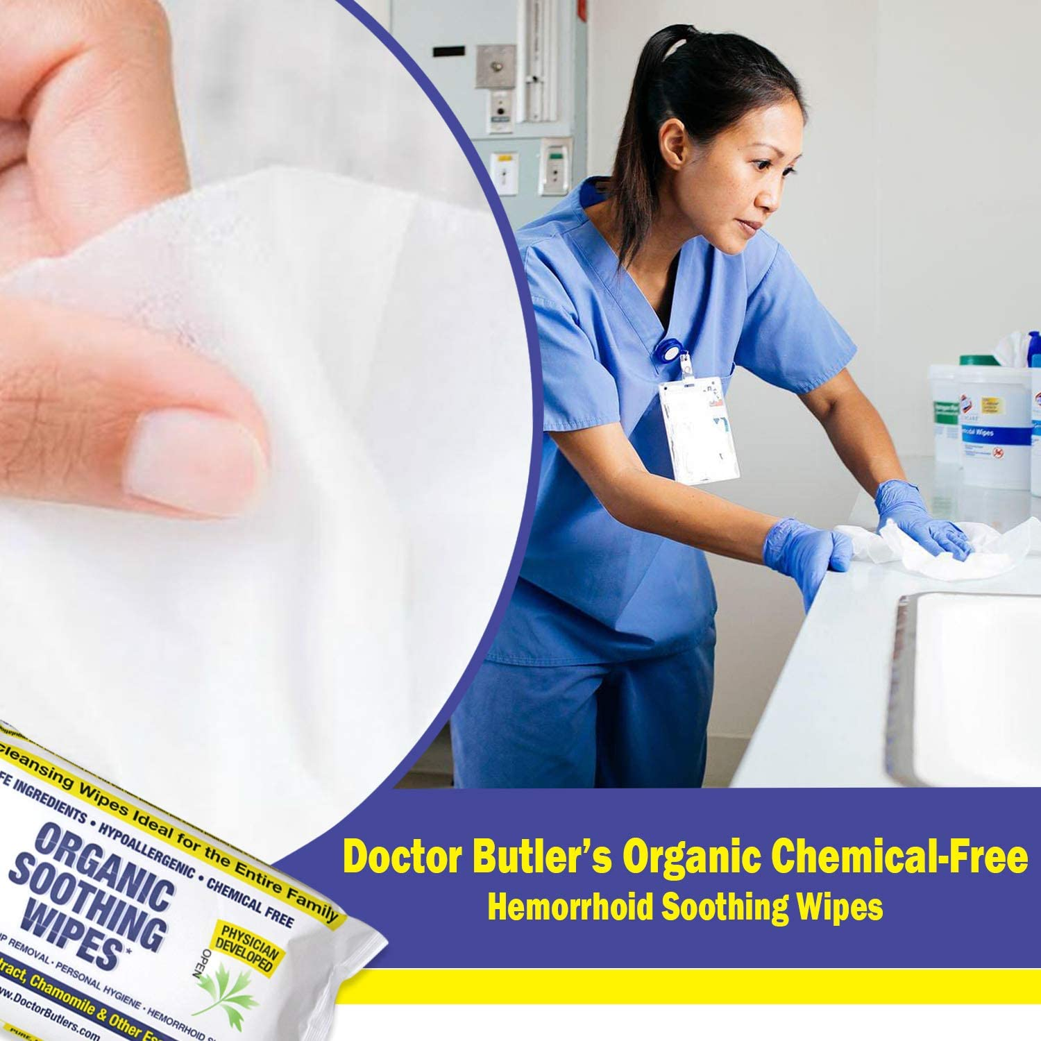 Dr Butler's Organic Soothing Wipes – All Natural, Hypo-Allergenic Hemorrhoid Treatment Wipes to Help Moisturize and Soothe Dry Sensitive Skin with Chamomile and Essential Oils* (1 Pack – 60 Count): Health & Personal Care