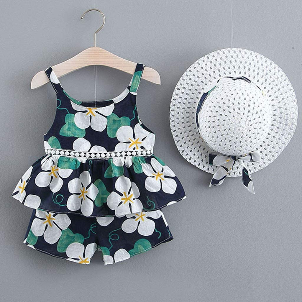 Womola Toddler Baby Kids Girls Floral Fruit Strap Tops Shorts Outfits Hat Casual Outfits