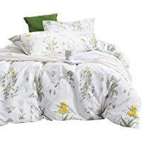 Botanical Quilt Cover Set - by Wake In Cloud, 100% Cotton Doona Cover Bedding, Yellow Flowers and Green Leaves Floral…