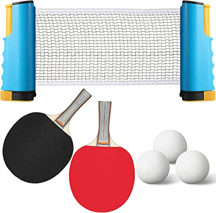Instant Table Tennis Set Portable Turn Table into Ping Pong Net 2 Paddles Balls