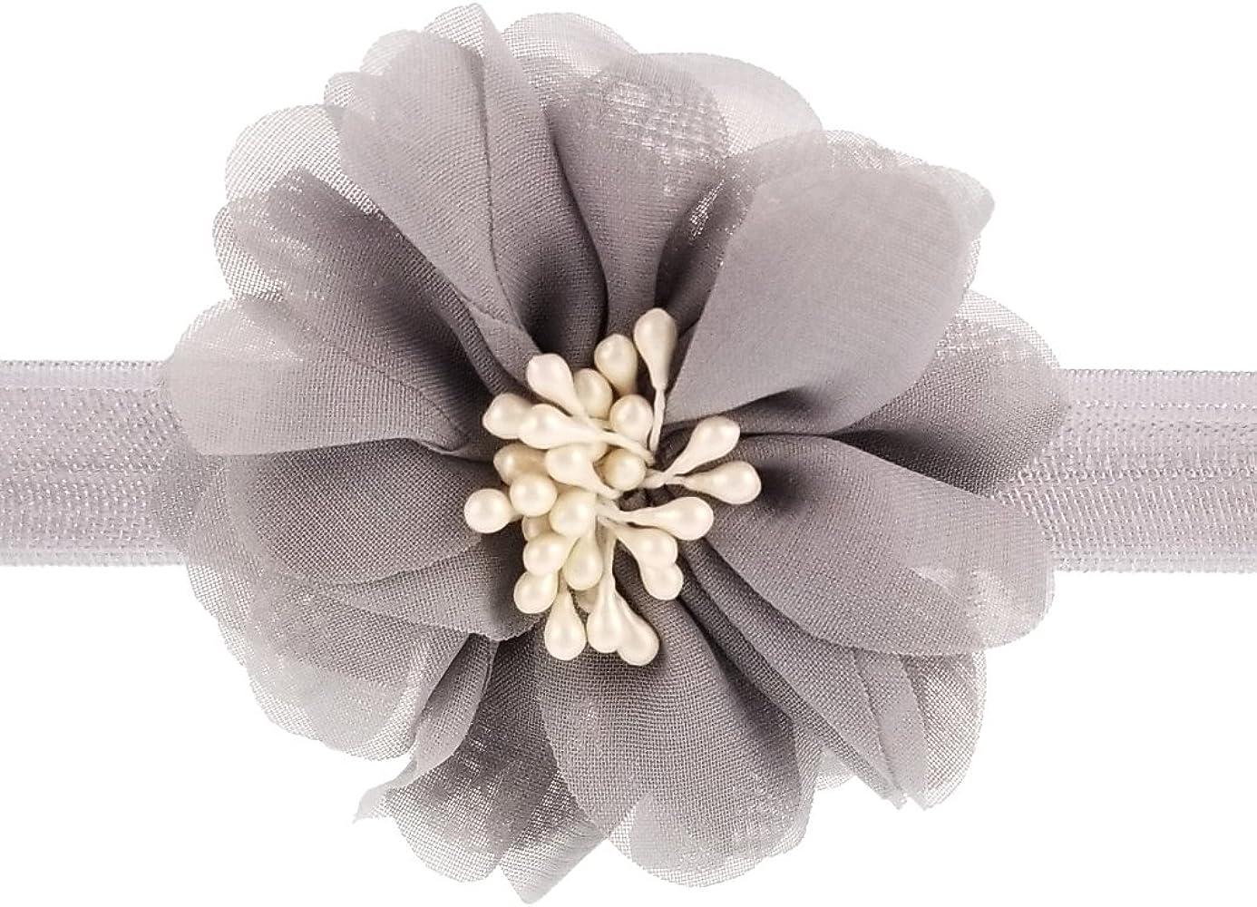 Grey Arrow /& Rhinestone Boutique Flower Headband Bright Blue Canary Yellow Fuchsia 13.5 inches Normally Fits NB-6M