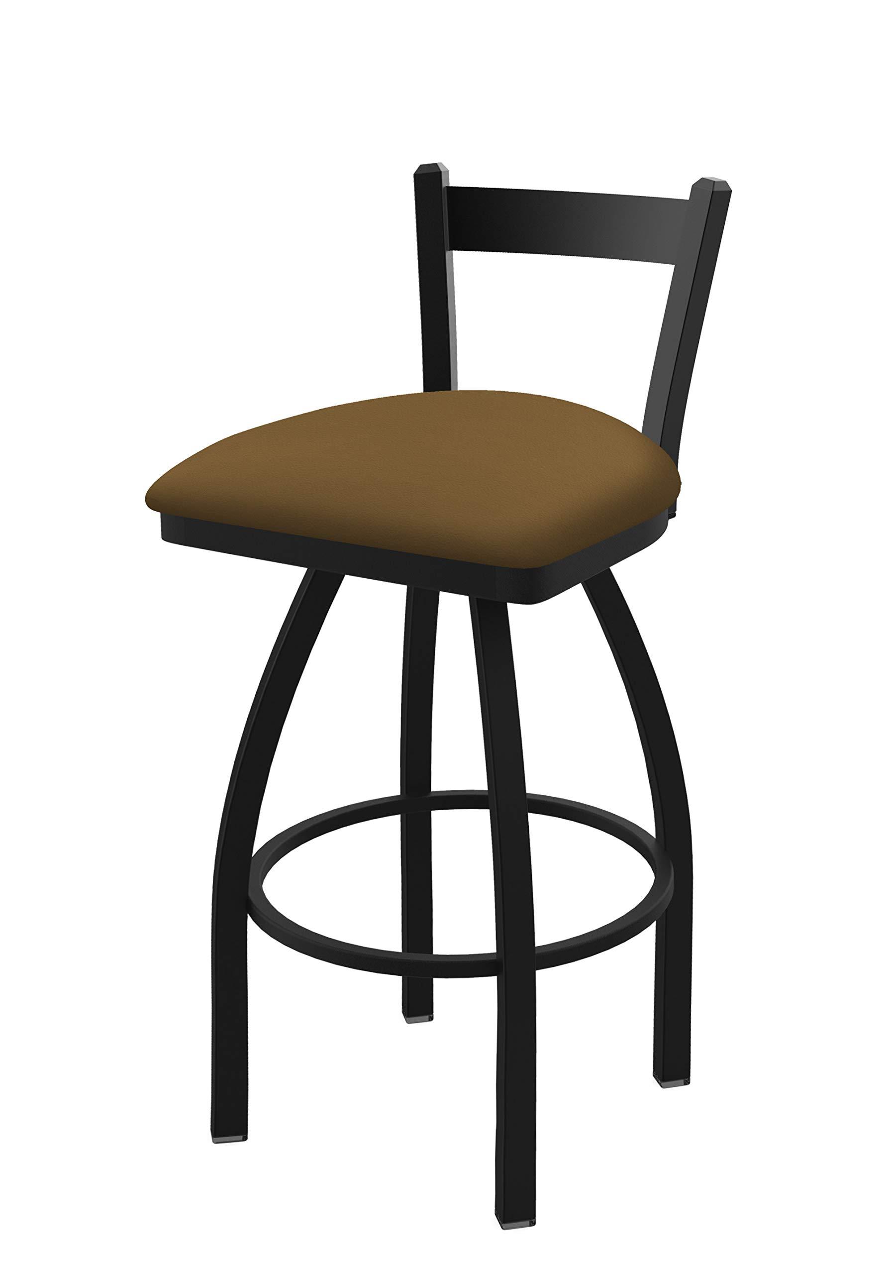Holland Bar Stool Co. 82125BW012 821 Catalina 25'' Low Back Swivel Counter Black Wrinkle Finish and Canter Saddle Seat Bar Stool