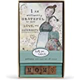 Mom Endlessly Grateful Generosity Floral Blue 8 x 5 Wood Boxed Card Set of 5