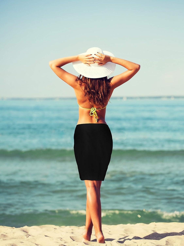 Chuangdi 2 St/ücke Damen Strand Wickeln Sarong Aufdecken Chiffon Badeanzug Wickelr/öcke Schwarze und Blaue Kokospalme, Kurz Schwarz und Wei/ß