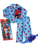 Marvel Spiderman Flannel 2 Piece Pajama Set with Spiderman Toothbrush