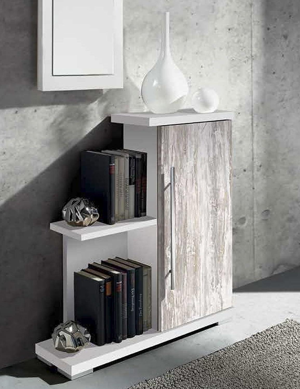 Meuble d'entrée en bois avec 1 porte - coloris blanc-vintage - Dim : L 70 x P 20 x H 74 cm( Livré Monté ) -PEGANE-