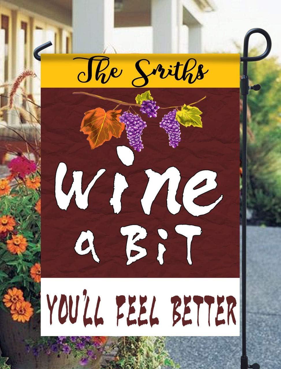 Tow Yus Dala Polyester Garden Flag for House Decor-Wine a bit youll Feel Better