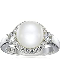 Platinum Plated Sterling Silver Cubic Zirconia Freshwater Cultured Halo Pearl Ring, Size 7