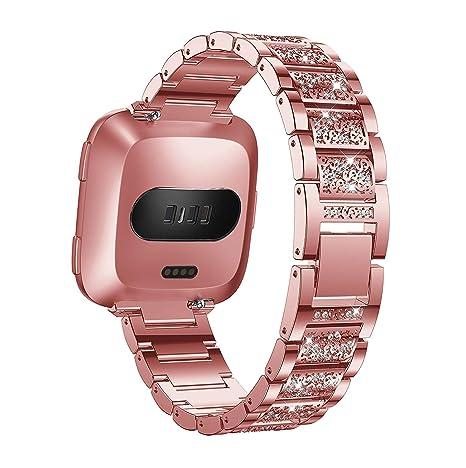 Correa para reloj Fitbit Versa, Aottom Fitbit Versa, de acero inoxidable, con brillantes