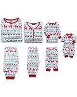 PopReal Reindeer Christmas Family Matching Clothes Long Sleeve and Pants Pajamas Set