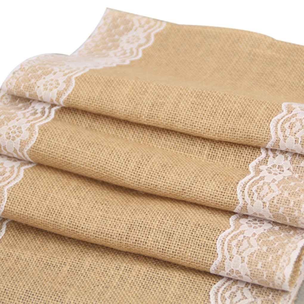 De estilo europeo, manteles de encaje arpillera Camino de mesa para la fiesta de Navidad Wendding Regard Natral