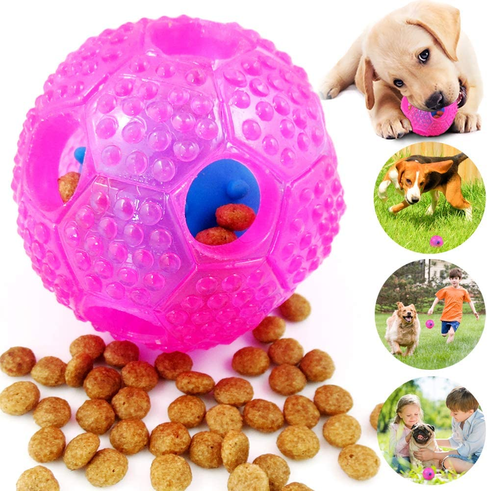 CHLEBEM Interactive Dog Toys, Dog Chew Toys Ball for Small Medium Dogs, IQ Treat Boredom Food Dispensing, Puzzle Puppy Pals Tough Durable Rubber Pet Ball, Best Cleans Teeth Dog Balls (Blue) (Pink)