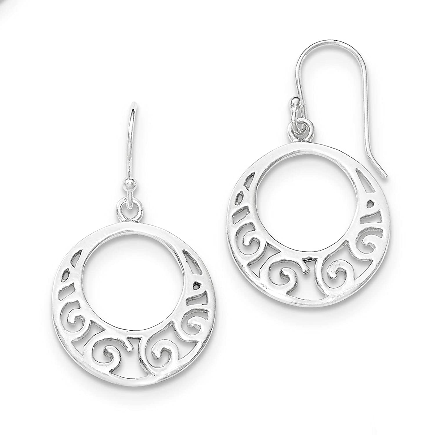 925 Sterling Silver Polished Round Dangle Earrings