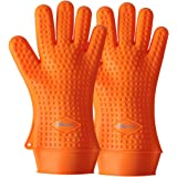 TIPEYE Silicone BBQ Gloves, Heat Resistant Grill Gloves for Cooking, Barbecue,Baking. Oven Mitts & Hot Pads Potholder - Non slip, Waterproof (L,Orange)