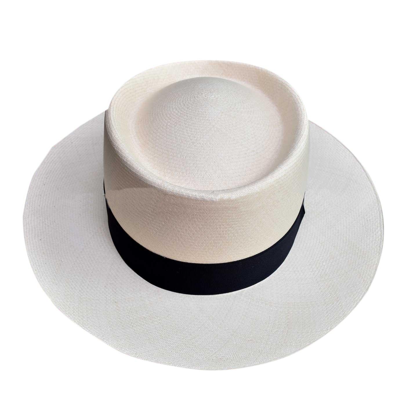 Kepelle Montecristi Panama hat GAMBLER grade 14/15 , color white , lace  black