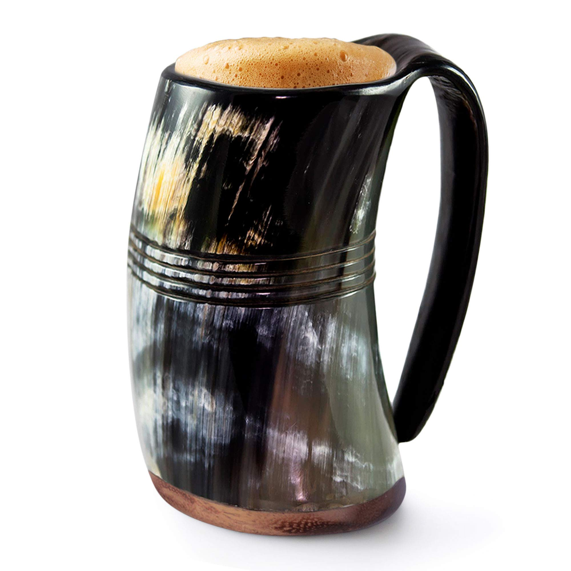 Norse Tradesman Genuine Viking Drinking Horn Mug - 100% Authentic Beer Horn Tankard w/Rosewood Bottom and Ring Engravings |''The Eternal'', Polished, X-Large