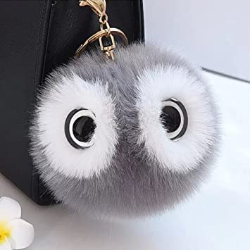 Cute Big Eyes Keyring Faux Fox Fur Bag Car Pendant Hair Ball Key Chain Gifts