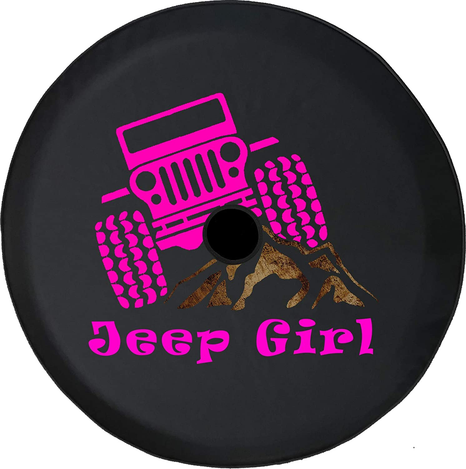 JL Series Spare Tire Cover Backup Camera Hole Jeep Girl Pink Offroad Mountain Rocks Black 33 in