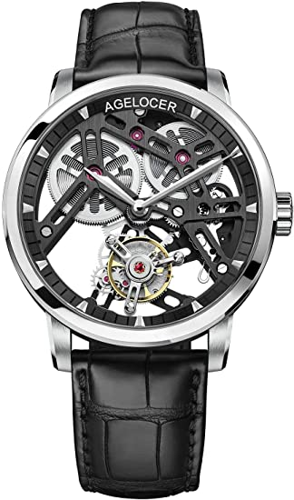 Agelocer Men's Top Brand Double-Sided Hollow Tourbillon Hand-Operated Mechanical Leather Luxury Watch