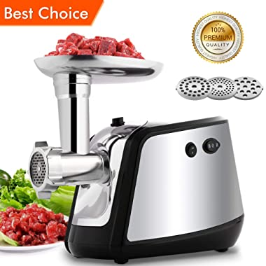 Electric Meat Grinder, Meat Mincer with 3 Grinding Plates and Sausage Stuffing Tubes for Home Use &Commercial, Stainless Steel/Silver/1000W(Max)