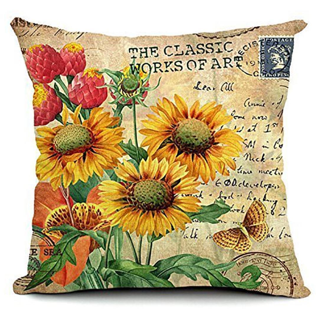 Sunflower Cotton Linen Decorative Throw Pillow Cover Cushion Case Cloth Art Toy Pillow Case