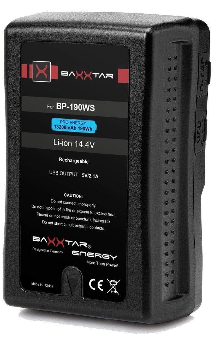 V-Mount Baxxtar Pro - LG Cells Inside 13200mAh - Compatible con Bateria Sony BP-190WS y BP GL65 GL65A GL95 GL95A 190 C190S más en la descripción del ...