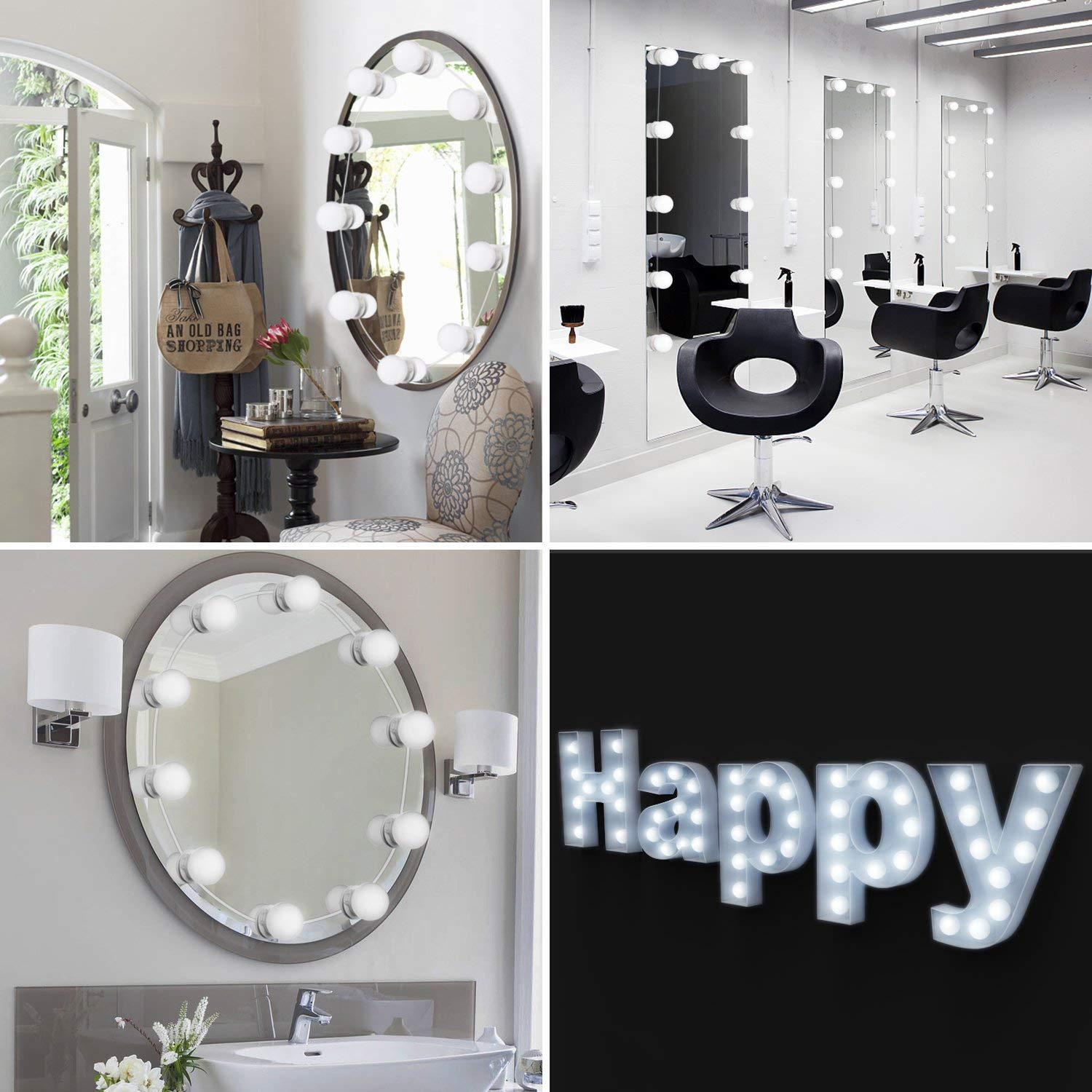 Vanity Light Mirror Hollywood LED Lights For Mirror With 10 Dimmable Light Bulbs, Oroncho Vanity Light Kit Lighting Fixture Strip For Bedroom Makeup Vanity Table Set Dressing Room (Mirror Not Include) by Oroncho (Image #2)