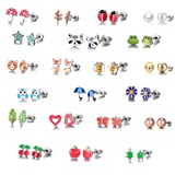 Amazon Price History for:21 Pairs Stainless Steel Mixed Color Cute Fox Heart Star Ladybug Stud Earrings Set