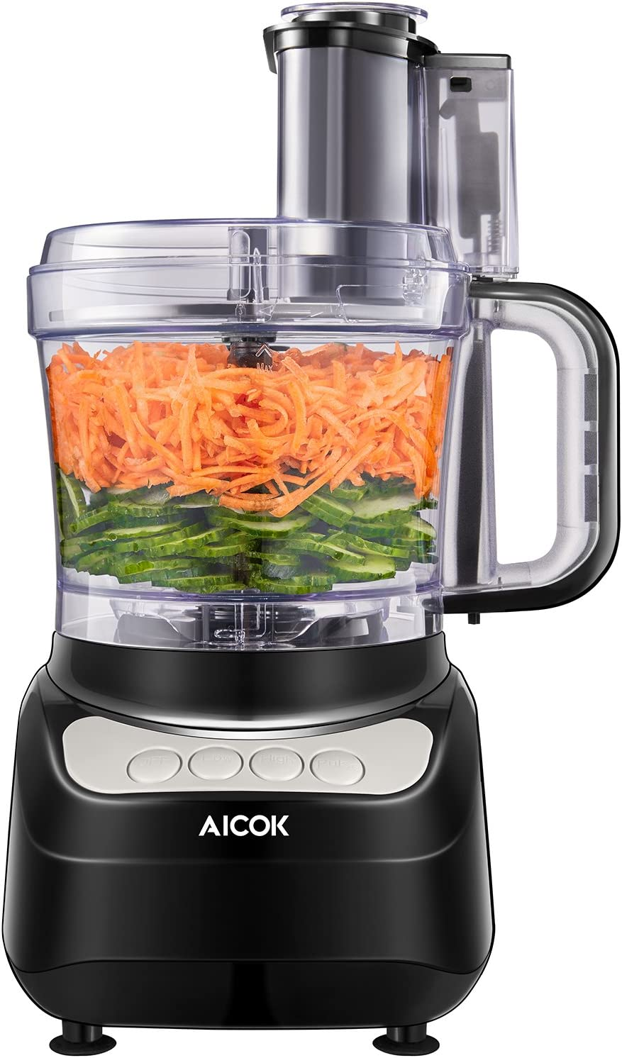 AICOK Food Processor, Compact Food Processor, Multifunctional 12 Cup Electric Food Chopper, 4 Speed Controls Food Shredder, Chopper with Blade, Shredder & Grater, Safety Interlocking Design
