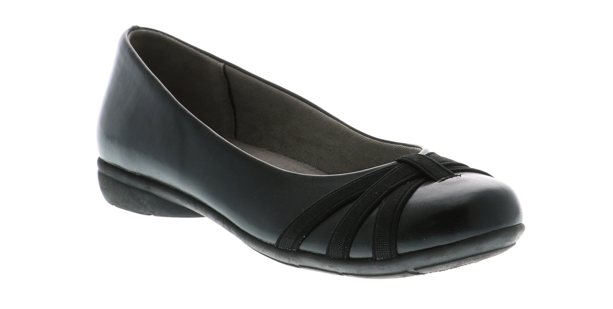 LifeStride Women's Abigail Ballet Flat, Black, 7 M US