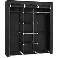 SONGMICS Portable Clothes Closet, Non-Woven Fabric Wardrobe with 2 Hanging Rods, 9 Storage Shelves, Storage Organizer, Black URYG12H