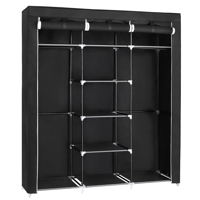 SONGMICS Portable Clothes Closet Non Woven Fabric Wardrobe Double Rod  Storage Organizer Black 59