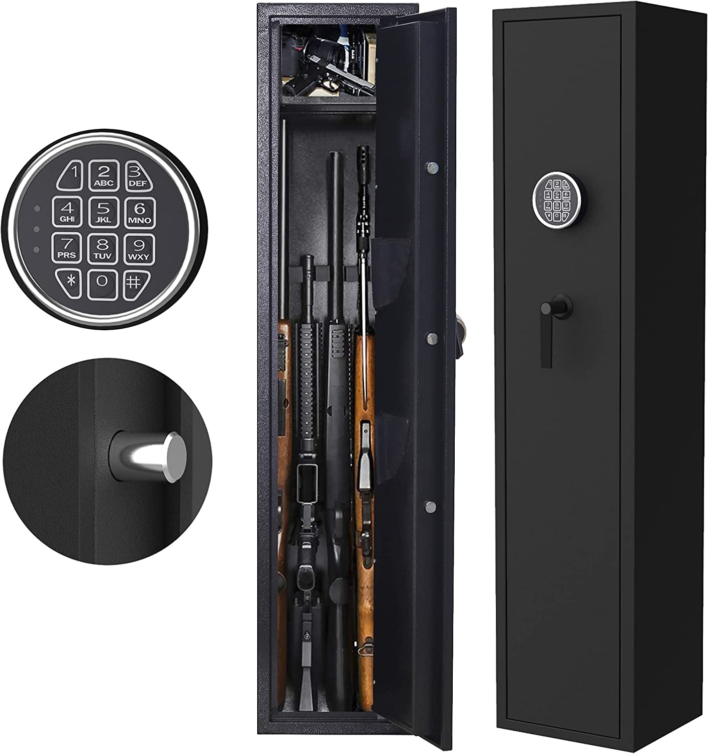 ZONLESON Gun Safe, Rifle Safe Gun Storage Cabinet 4-5 Rifle and 2 Pistol with Digital Keypad Lock,2 in 1 Quick Access Electronic Firearm Gun Security Cabinet