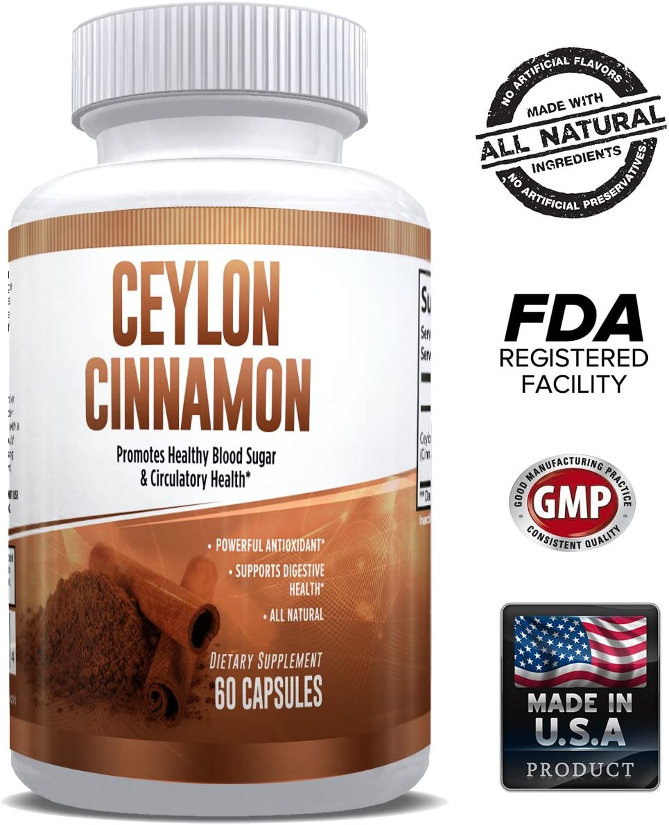 Pure Ceylon Cinnamon Capsules 1200mg Superfood Antioxidant Anti-Inflammatory 100 Natural Pure from Bark Supports Healthy Blood Sugar, Heart Health Digestion for Men Women - 1 Month