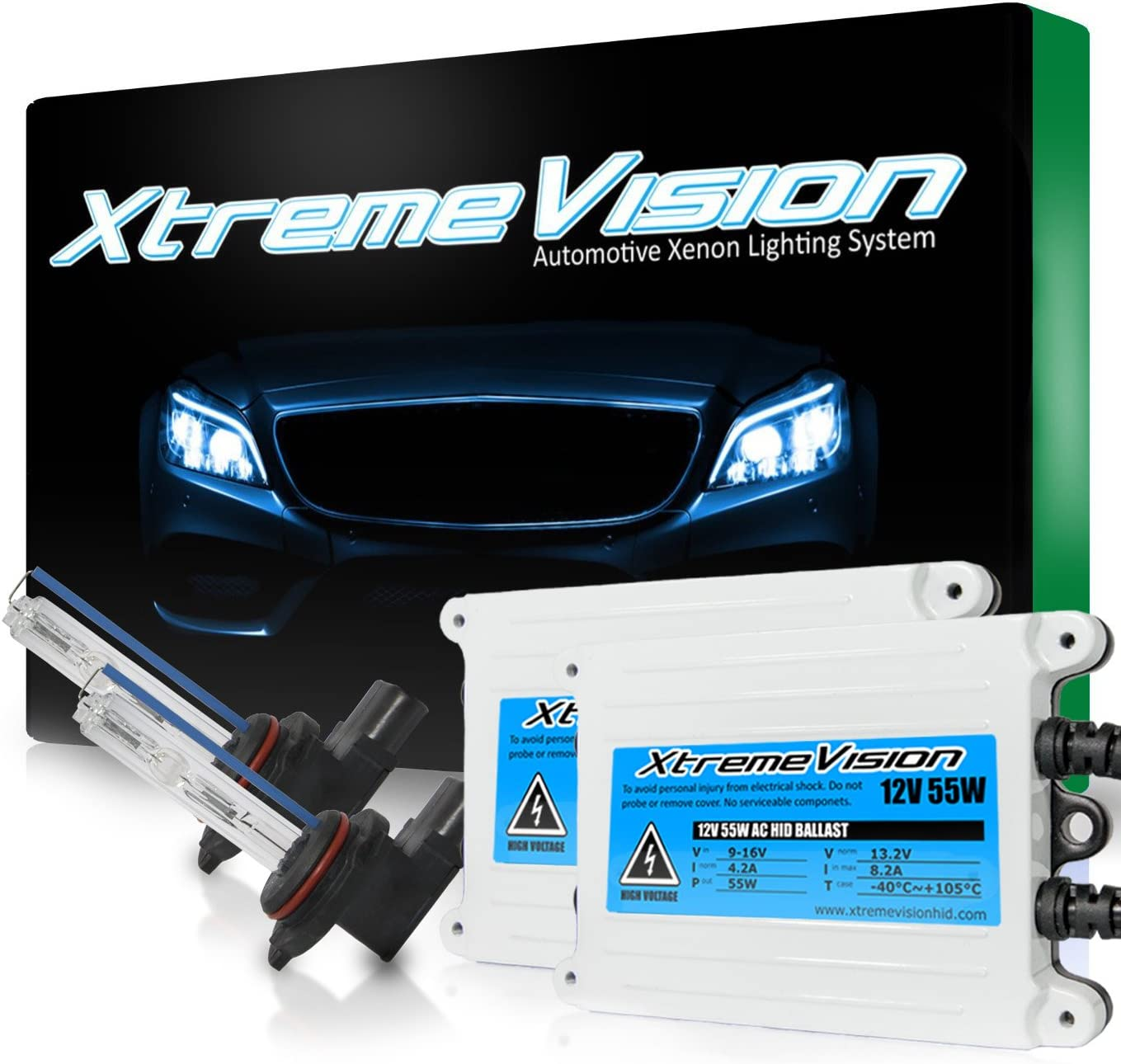 2 Year Warranty 9012 5000K XtremeVision 35W Xenon HID Lights with Premium Slim Ballast 5K Bright White