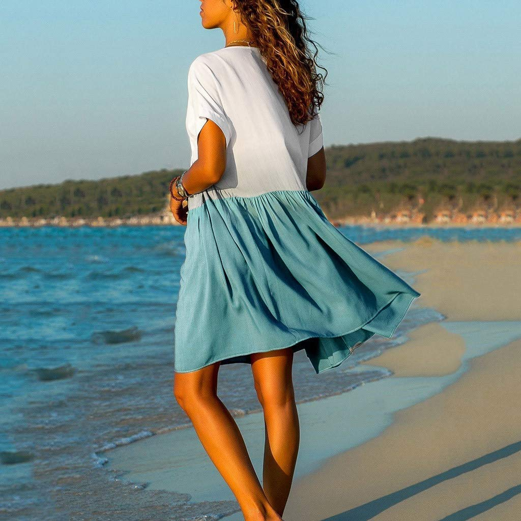 Women V Dress Knee Casual Dress Beach Babydoll Dress Blue Color Block Gradient Short Sleeve Ruffle Lace Dress