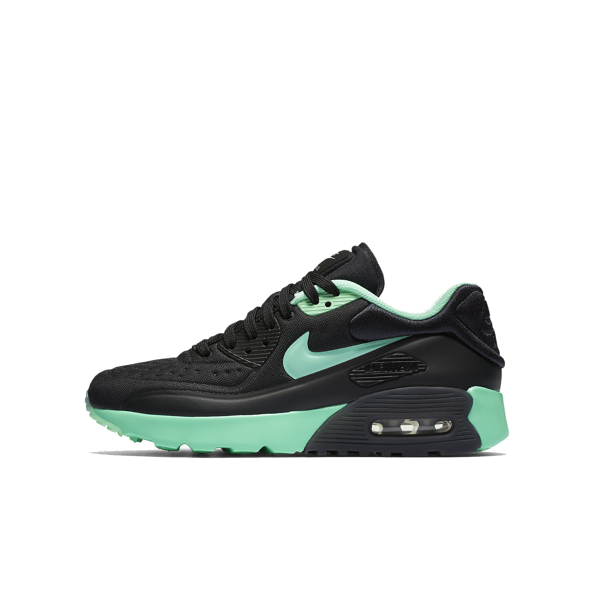 Nike AIR MAX 90 Ultra SE (GS) Girls Running Shoes 844600 003_6Y BlackGreen Glow Pure Platinum