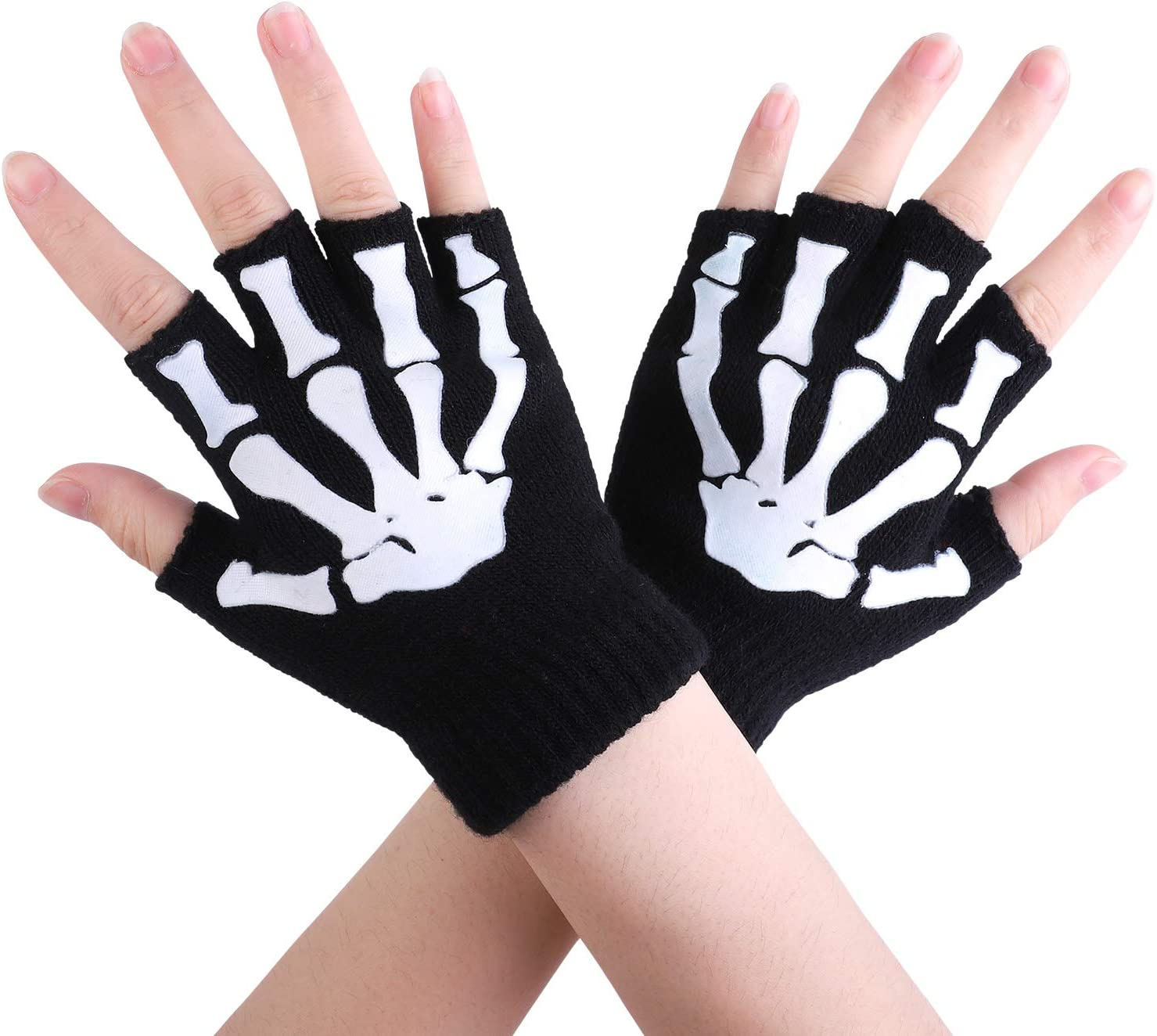 Cooraby 2 Pairs Kids Skeleton Gloves Glow in The Dark Fingerless Knitted Gloves: Toys & Games