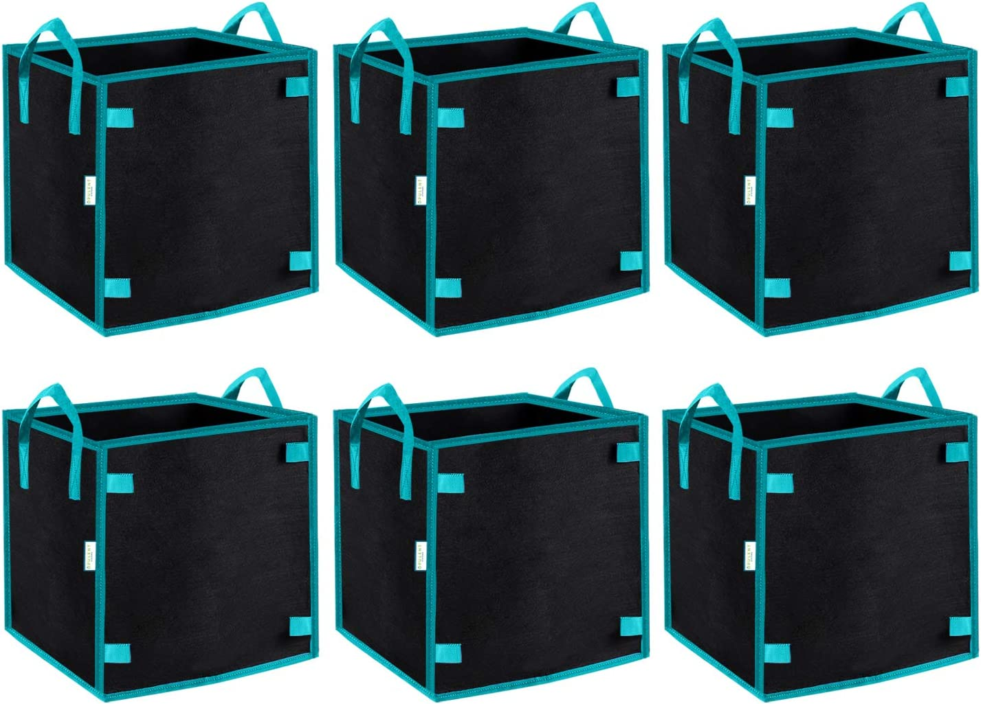 OPULENT SYSTEMS 6-Pack Heavy Duty Aeration Fabric Square Grow Bags Thickened Nonwoven Fabric Containers for Potato/Plant Pots with Handles (Black) (7 Gallon)