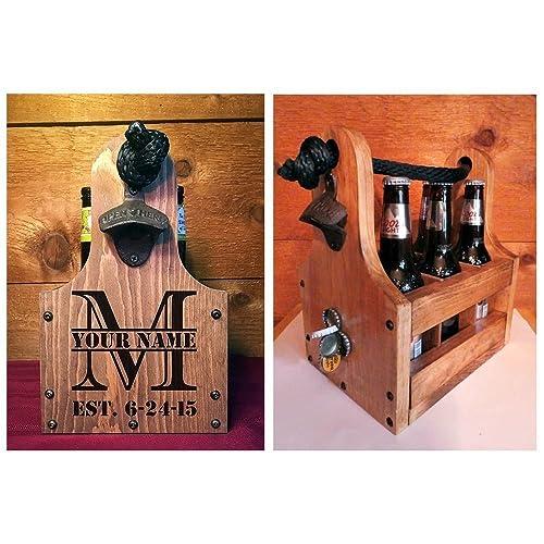 wood beer caddy with bottle opener and magnetic bottle cap catcher handmade rustic wooden - Magnetic Bottle Opener