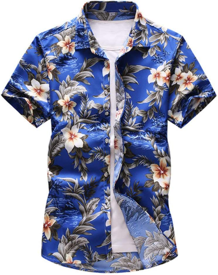 YUFUFU T-shirt Men's Flower Shirt Summer Casual Short Sleeved Shirt Male Clothes Dark Blue