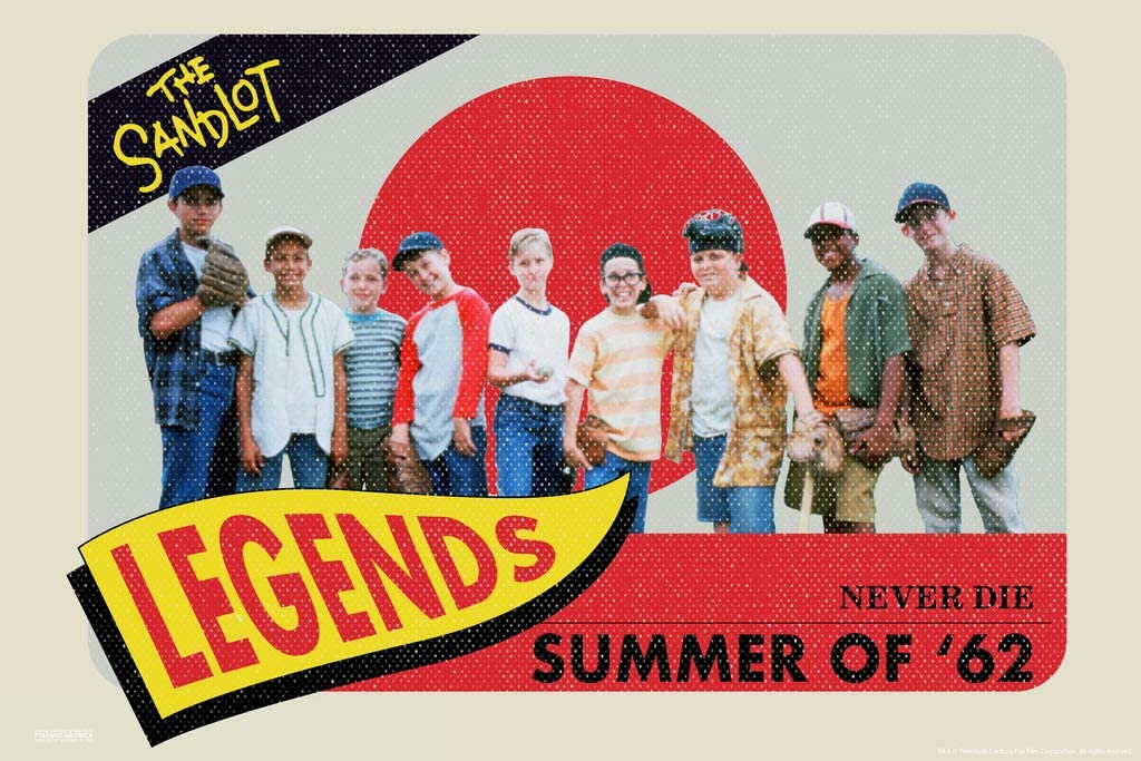 Pyramid America The Sandlot Movie Team Baseball Card Legends Never Die Summer of 62 Retro Vintage Sports Film Cool Wall Decor Art Print Poster 12x18