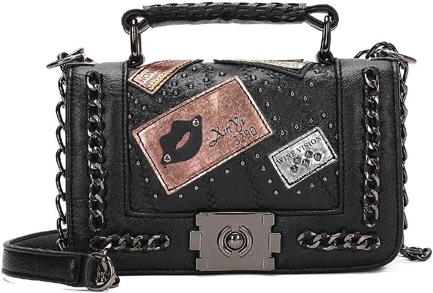 Women Chains Messenger Bags 2018 New Bag Ladies Famous Brand Crossbody Bag  For Women Rivet Small Shoulder Bags  Handbags  Amazon.com 3cdd429a60027