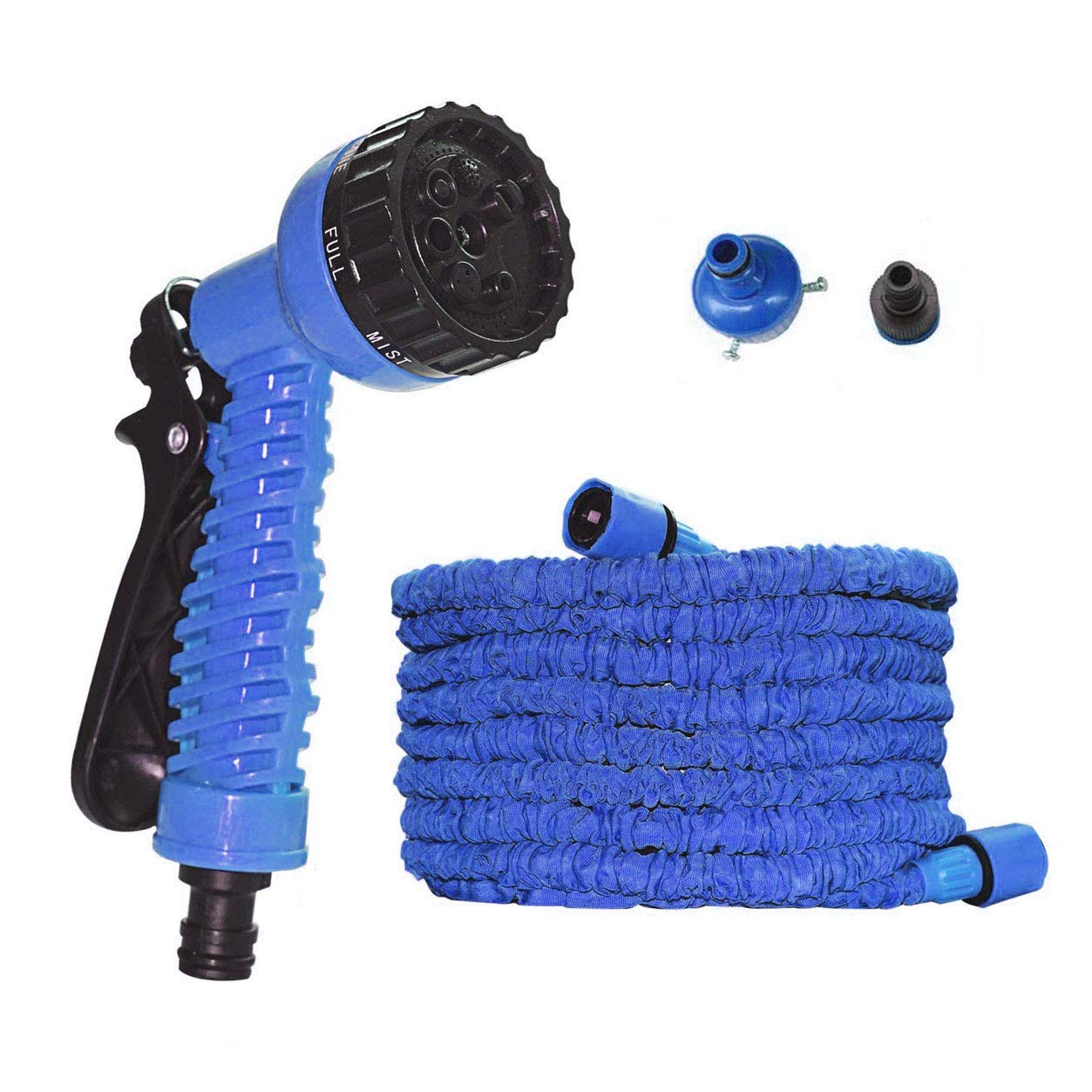 Coroler Expandable Garden Hose - 50ft Strong Expanding Garden Water Hose - Flexible Expandable Stretch Hosepipe 7 Pattern Spray Nozzle Car Garden Watering Needs (Blue)