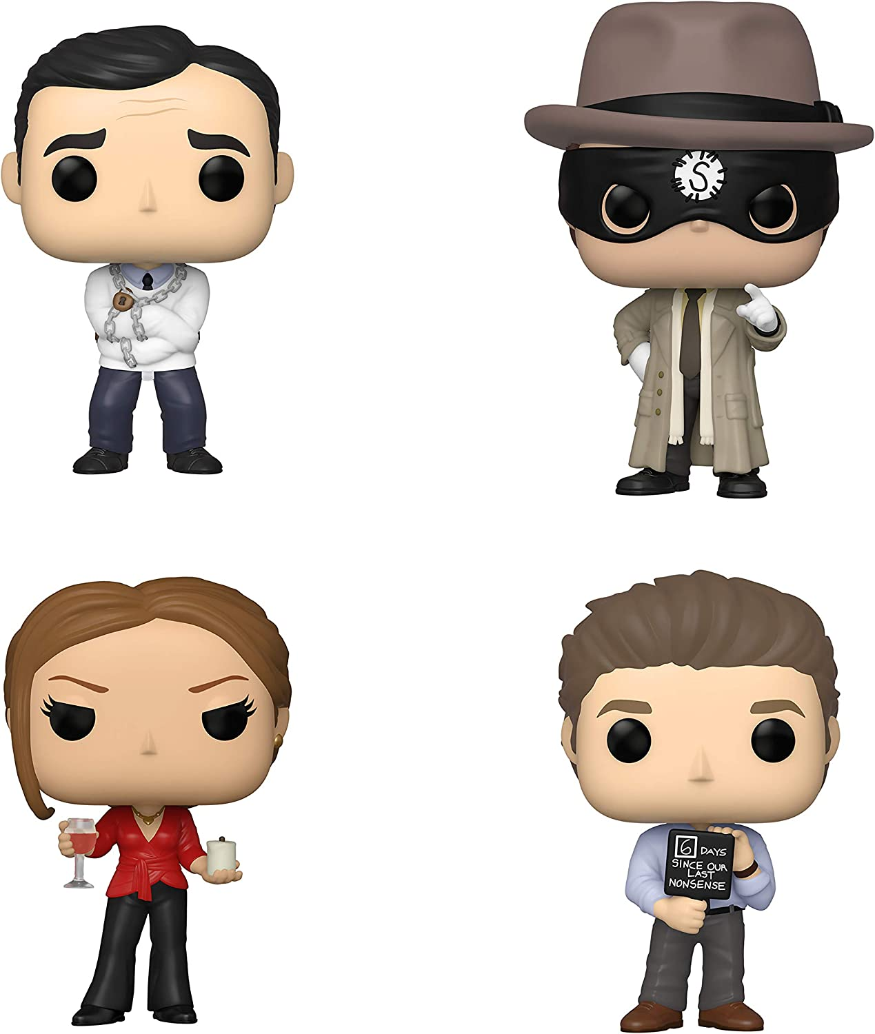 Funko TV: POP! The Office Collectors Set 2 - Straitjack Michael, Dwight The Strangler, Jim with Nonsense Sign, Jan with Wine & Candle