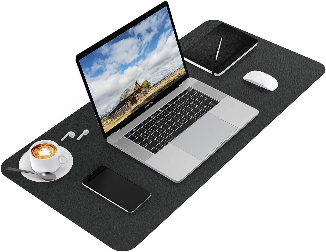 Ktrio Office Desk Mat Large Desk Pad Protector, PU Leather Desk Blotter Pad, Mouse Pad Waterproof Full Desk Cover Mat, Ultra-thin Writing Mat for Laptop Office & Home, 31.5 x 15.7 x 0.08 inches, Black