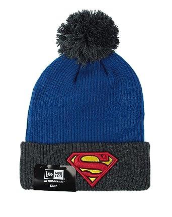 7f37b0347b7 New Era DC Comics Kids Ribbed Knit Superman Bobble Hat  Amazon.co.uk   Clothing
