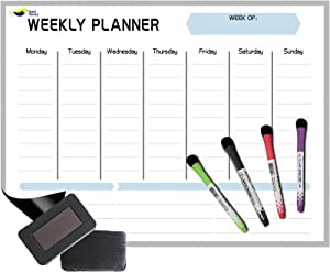 "Magnetic Dry Erase Calendar for Refrigerator by Quick Canary- New Nano Premium Film Stops Stain-17x12""- 4 Fine Tip Markers and Large Eraser- Weekly Whiteboard Planner Board Sticks Strongly onto Fridge"