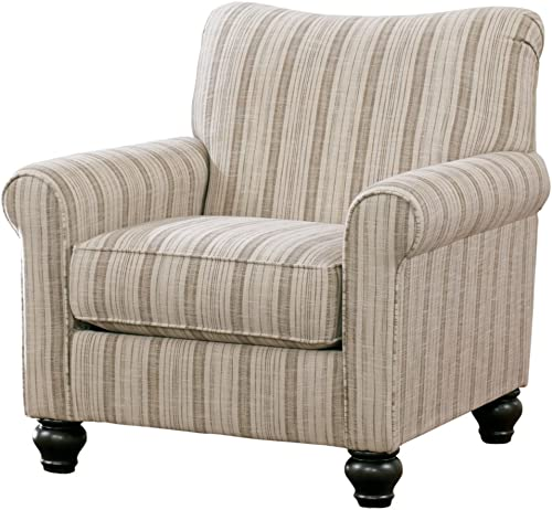 Signature Design by Ashley – Milari Classic Striped Accent Chair, Neutral